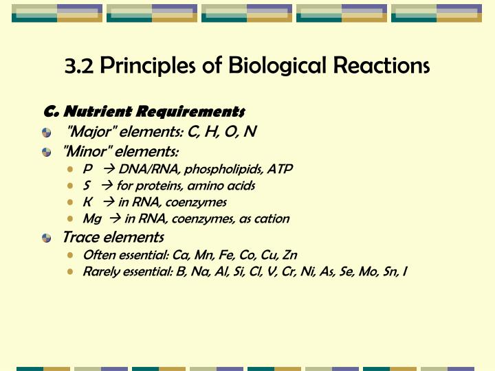 3.2 Principles of Biological Reactions