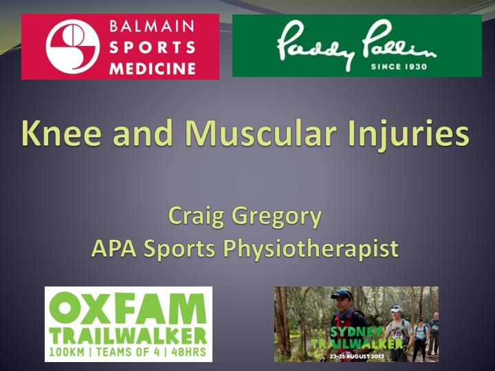 knee and muscular injuries craig gregory apa sports physiotherapist n.