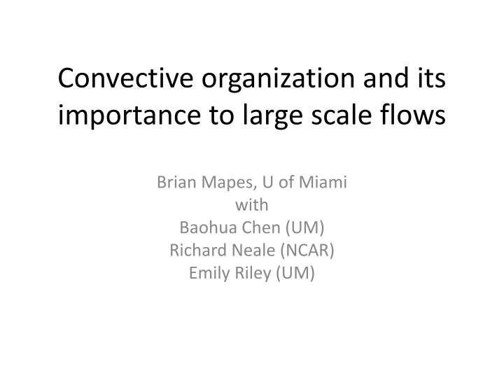 convective organization and its importance to large scale flows n.