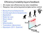 efficiency instability layers feedback
