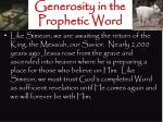 generosity in the prophetic word1