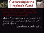 generosity in the prophetic word2
