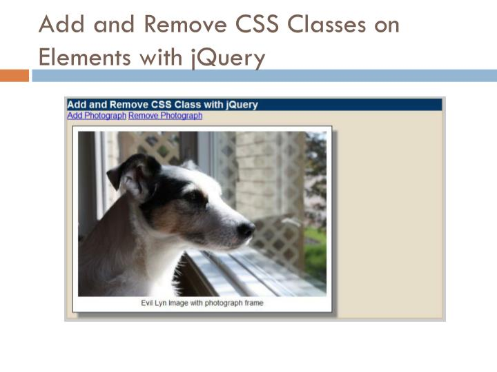 Add and Remove CSS Classes on Elements with jQuery