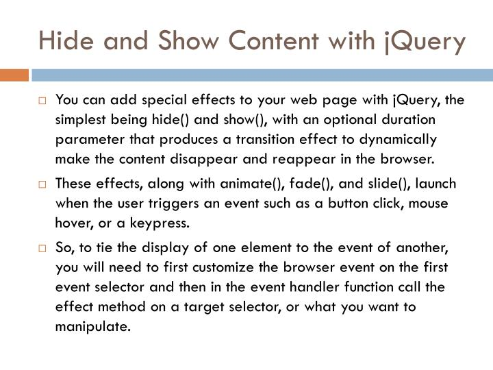 Hide and Show Content with jQuery