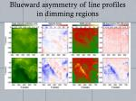 blueward asymmetry of line profiles in dimming regions