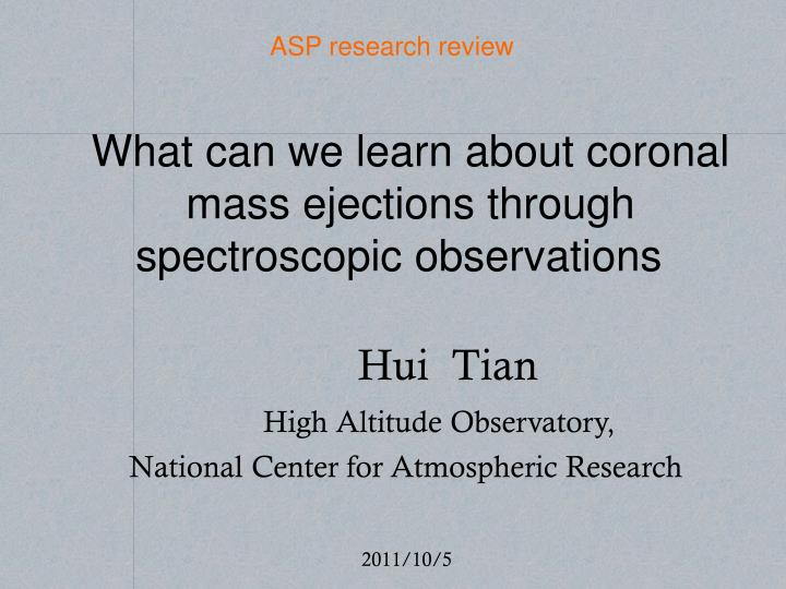 hui tian high altitude observatory national center for atmospheric research n.
