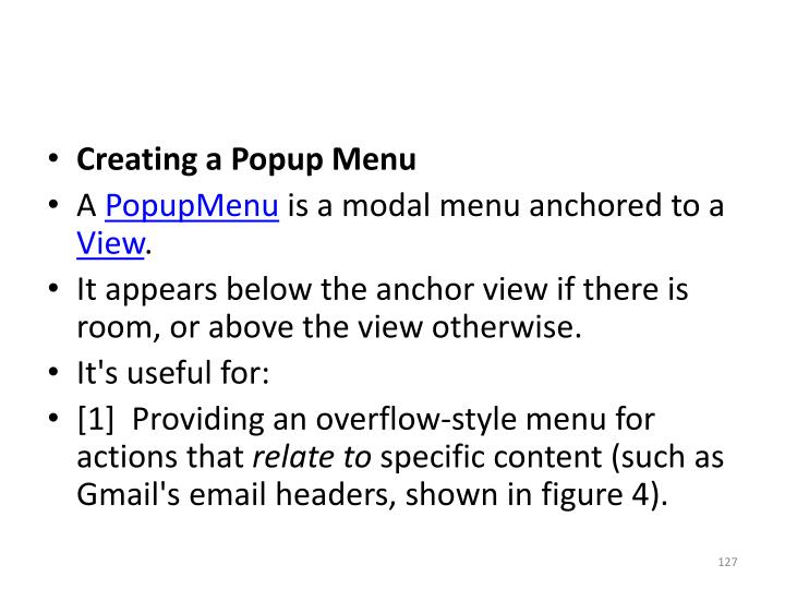 Creating a Popup Menu