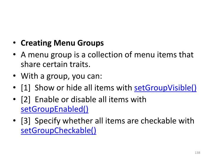 Creating Menu Groups
