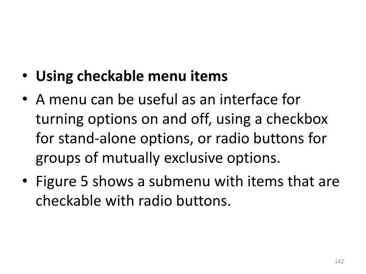 Using checkable menu items