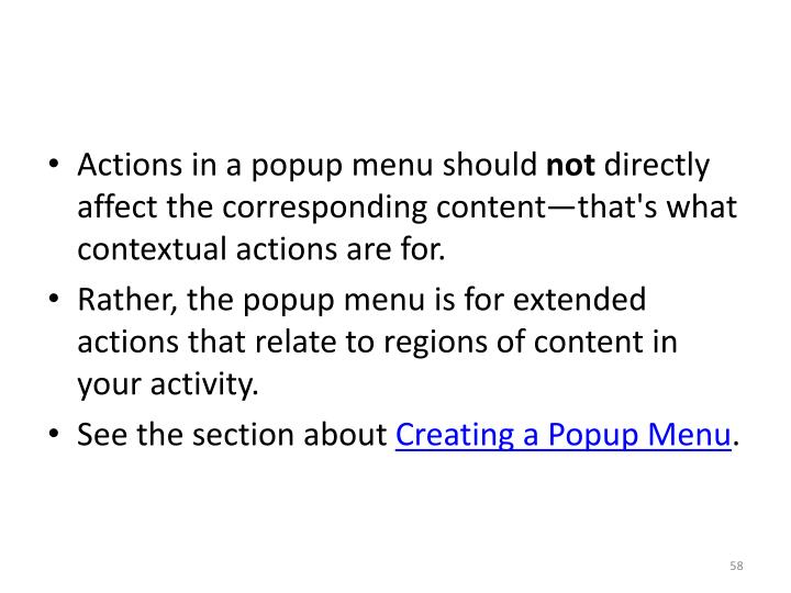 Actions in a popup menu should