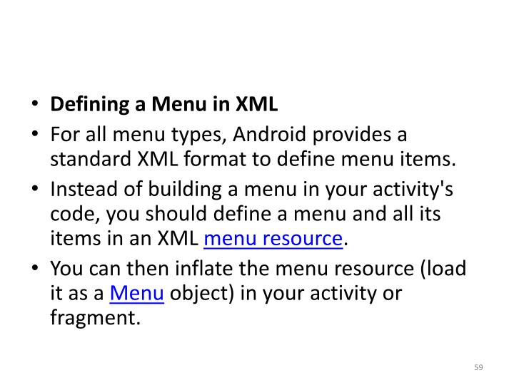 Defining a Menu in XML