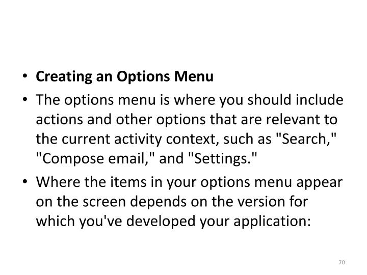 Creating an Options Menu