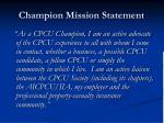 champion mission statement