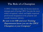 the role of a champion