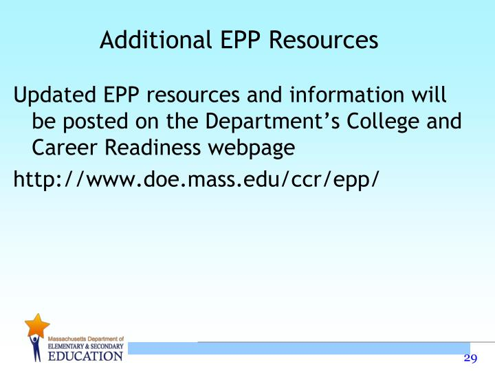 Additional EPP Resources