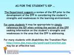 as for the student s iep