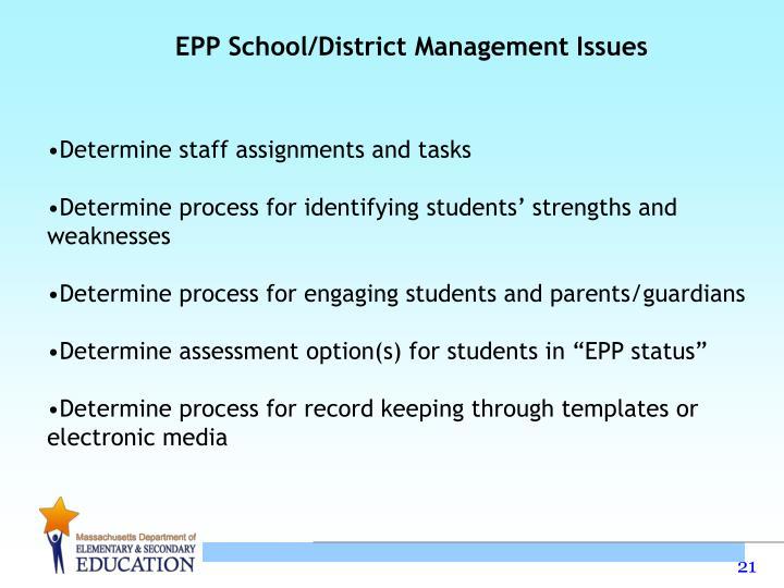 EPP School/District Management Issues