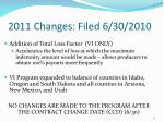 2011 changes filed 6 30 2010