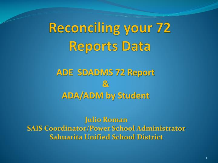 reconciling your 72 reports data n.