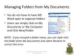 managing folders from my documents