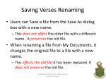 saving verses renaming