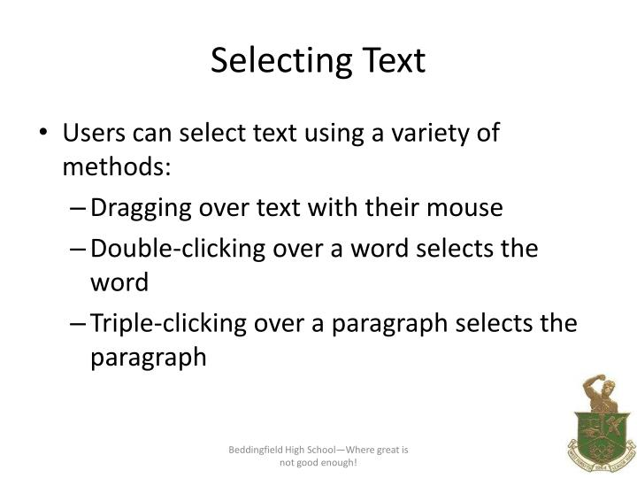 selecting text n.