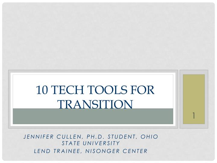 10 tech tools for transition n.