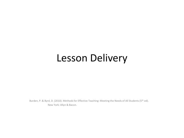 lesson delivery n.