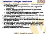 conclusions catalytic combustion