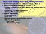 microscale reacting flows and power generation