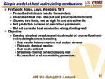 simple model of heat recirculating combustors1
