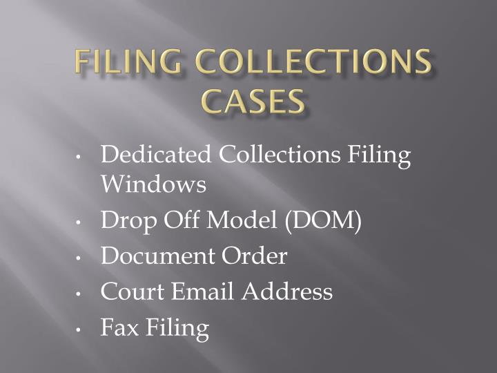 filing collections cases n.