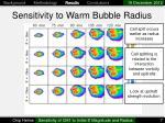 sensitivity to warm bubble radius