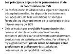 les principaux enjeux de la gouvernance et de la coordination du ssn1