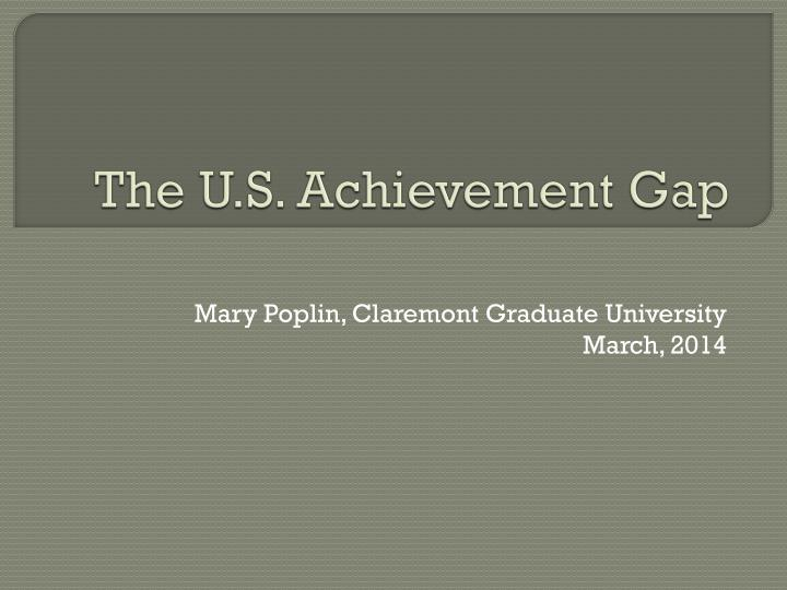 the u s achievement gap n.