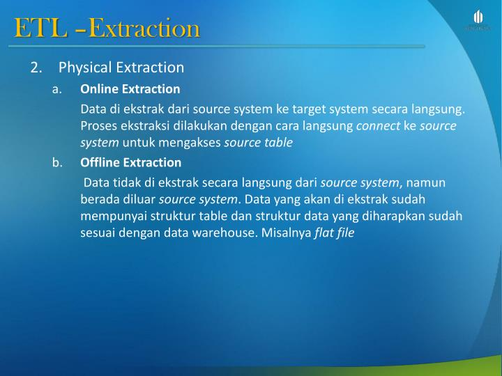 ETL –Extraction