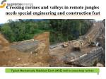 crossing ravines and valleys in remote jungles needs special engineering and construction feat