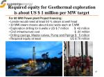 required equity for geothermal exploration is about us 1 million per mw target