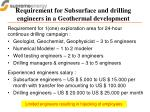 requirement for subsurface and drilling engineers in a geothermal development