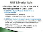 unt libraries role