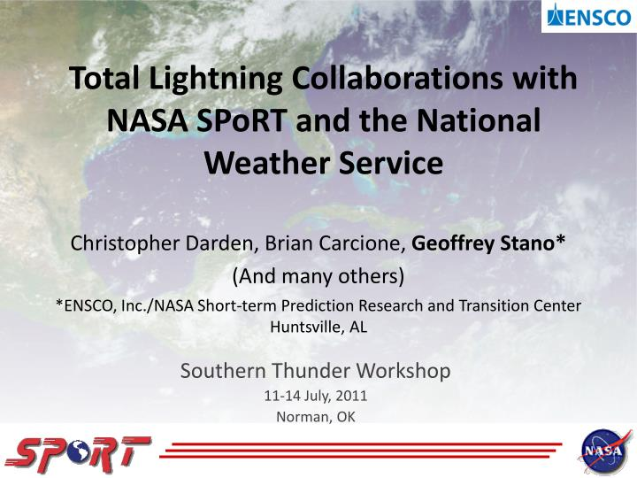 total lightning collaborations with nasa sport and the national weather service n.