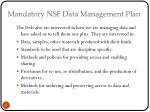 mandatory nsf data management plan
