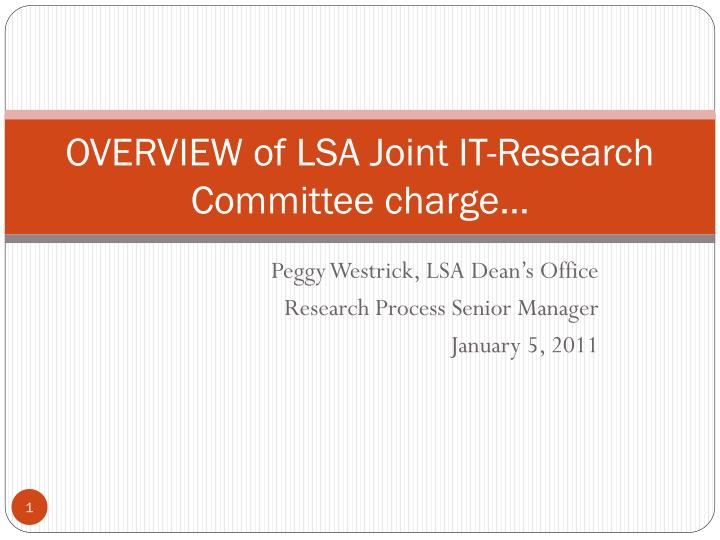 overview of lsa joint it research committee charge n.