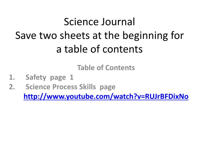 science journal save two sheets at the beginning for a table of contents n.