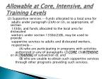 allowable at core intensive and training levels
