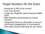 target numbers for the grant