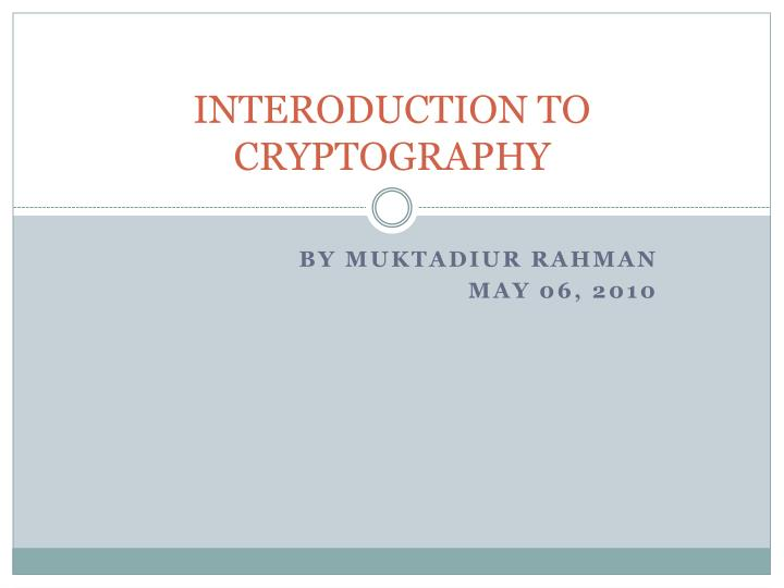 interoduction to cryptography n.