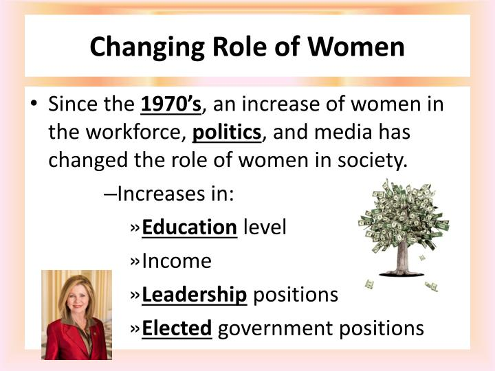 the changing role of women in the society Women, in general, could not participate in society as men did, and their role was limited to household matters the situation began to change with the opening of the country to the outside world during the late 19th century.