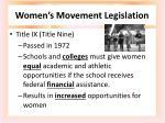 women s m ovement legislation