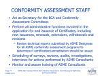 conformity assessment staff